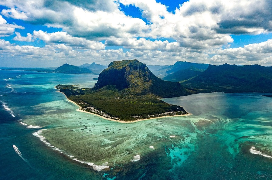 Mauritius coastline from above - Honeymoon Packages